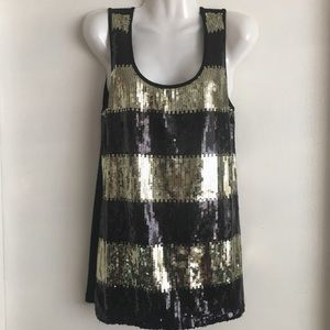 Forever 21 Sequined Sequin Tank Top Black & Gold M